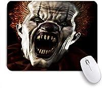 ECOMAOMI 可愛いマウスパッド あなたに向かって闇を突き刺す鋭い牙を持つ恐ろしい怖いピエロ 滑り止めゴムバッキングマウスパッドノートブックコンピュータマウスマット
