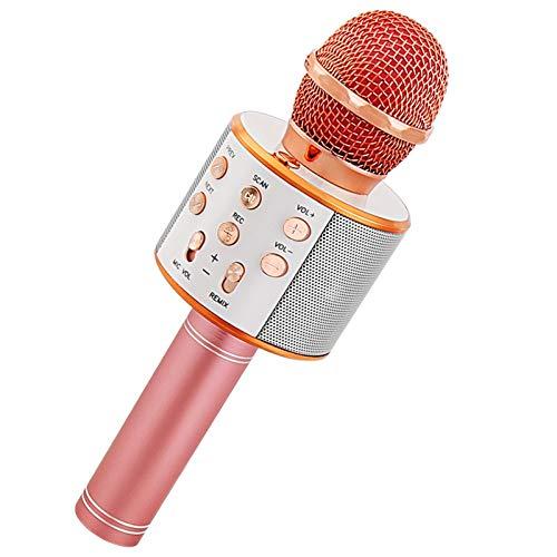 Sooair Karaoke Drahtloses Bluetooth, Mikrofon mit Steuerbaren LED-Leuchten, Tragbarer Karaoke-Stereo Player Dynamisches mit LED für Geburtstagsgeschenk/Party/Musik Spielen/KTV, für Android/IOS, PC