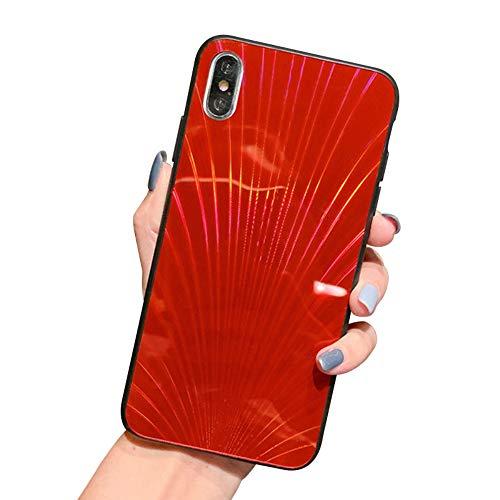 Oihxse Case Compatible pour iPhone XS Coque Mode 9H Verre Trempé Dur Protection Colore Laser Motif Housse Noir Silicone TPU Souple Bumper Etui Anti Ra
