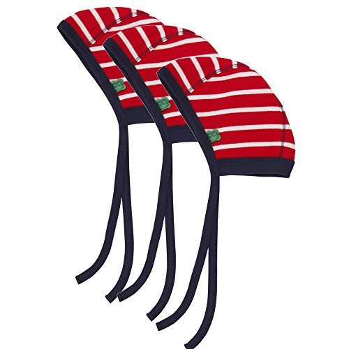 Fred'S World By Green Cotton Stripe Baby Hat 3-Pack Bonnet, Ecru (Cream/Red 019800001), S (Taille Fabricant:56/62) Mixte bébé