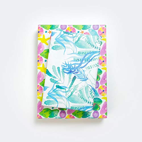 Wrappily Reversible Eco-Friendly Wrapping Paper - Great for Birthday, Baby Shower, and Christmas Gift Wrap Use - Floral Designs with Blue, Pink, Rose, Gold, and Silver Colors (Magical Sea)