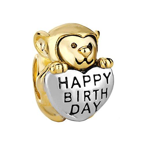Monkey Love Happy Birthday Charm 22K Golden Plated Beads Sale Cheap Jewelry Fit Pandora Charm Bracelets by Fit Pandora Charms