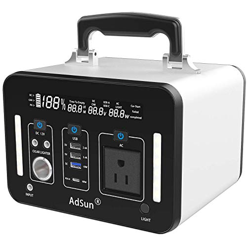 AdSun ポータブル電源 大容量 A500 500Wh/135200mAh 純正弦波 家庭用蓄電池 日本製仕500W 瞬間最大1000W/DC/車の充電/USB/ 急速充電QC3.0 / Type-C PD 60W総出力770W 充電しながら放電UPS(