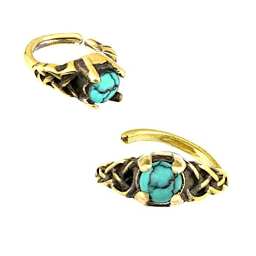 CHICNET Universal Piercing Ring Ear Nose Brass Antique Gold Turquoise Celtic Knot Nostril Septum Conch Tragus Helix Lobe