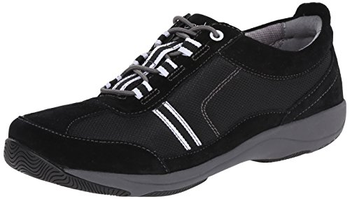 Dansko Women's Helen Fashion Sneaker, Black/White Suede, 35 EU/4.5-5 M US