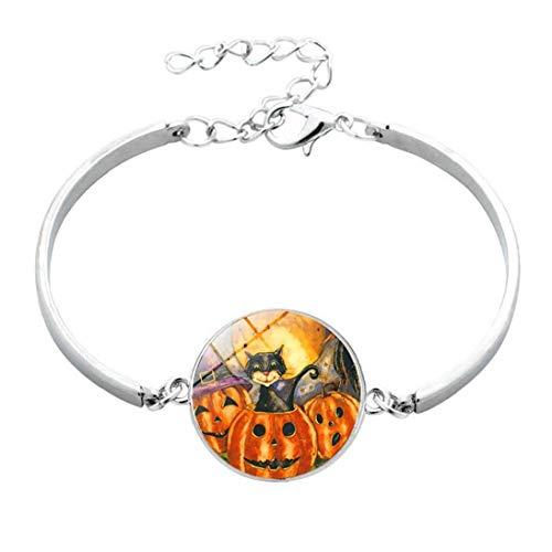 1PC Metal and Glass Bracelet Halloween Pumpkin Bead Hook Charm Stones Bracelet Jewellery for Women Men Beauty Art