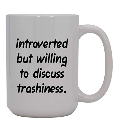 Introverted But Willing To Discuss Trashiness - 15oz Ceramic White Coffee Mug Cup, Deep Purple