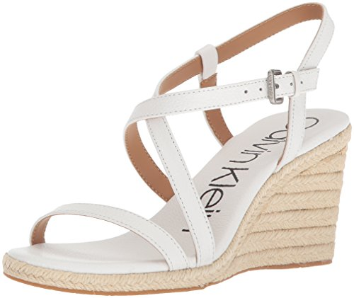 Calvin Klein Women's Bellemine Espadrille Wedge Sandal, Platinum White, 9.5 Medium US