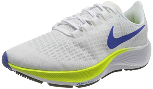 Nike Air Zoom Pegasus 37, Zapatillas para Correr Hombre, White Racer Blue Cyber Black Pure Platinum, 42 EU