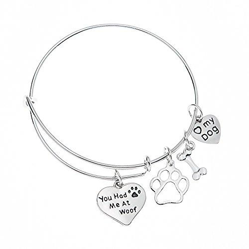 Infinity Collection Dog Charm Bracelet - Paw Print Jewelry- Dog Lovers Bracelet- Dog Owner Bangle for Dog Lovers