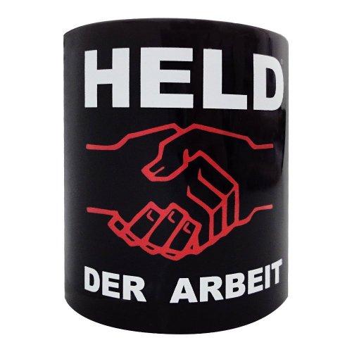 Tasse Kaffeebecher Held der Arbeit in schwarz Höhe: ca. 9,5 cm, Ø: ca. 8 cm