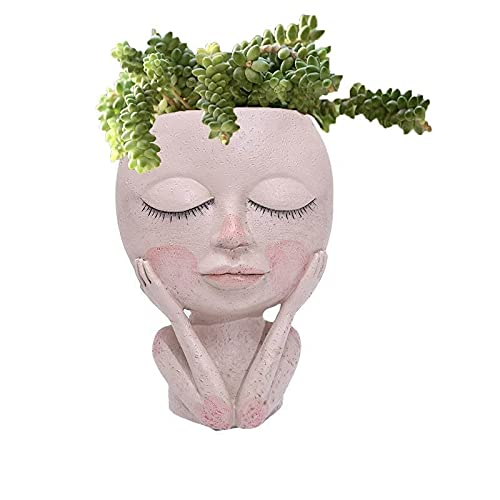 Youehsent Linda Maceta de Cactus de Resina, Macetas con Cara de Dama, Cabeza de Macetas con Drenaje para Plantas de Interior Al Aire Libre, Maceta de Resina, Estatua de Arte Creativo