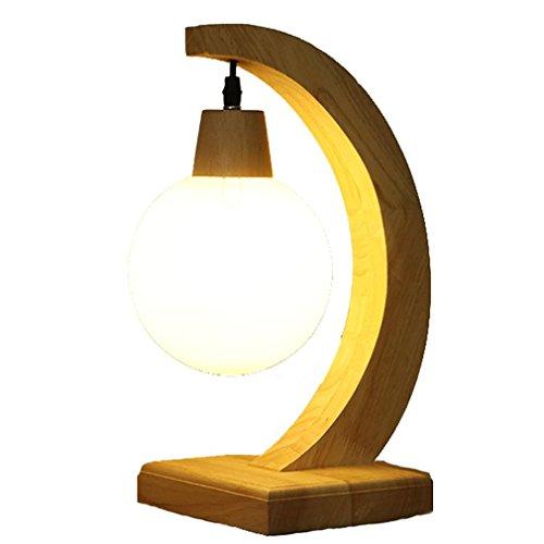 GRFH Massivholz Glas Schreibtisch Lampe Schlafzimmer Nachttisch Kleine Nacht Licht Ball Glas LED Tischleuchten