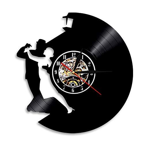 BFMBCHDJ Tanzballett Schallplatte Wanduhr Einfache Moderne Tanzserie Kreative Home Decoration Uhr A3 Mit LED 12 Zoll