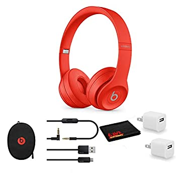 Beats by Dr Dre Beats Solo3 Wireless On-Ear Bluetooth Headphones  Red  - Kit with USB Adapter Cube