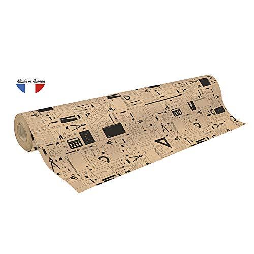 Clairefontaine 223809C Rolle Geschenkpapier mit Papeterie Motiven, 50 x 0,70m, 70g/qm Recycling Kraftpapier, ideal für große Geschenke, 1 Stück, Braun/Schwarz