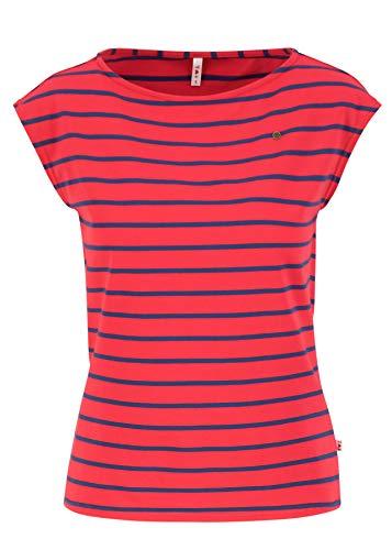 Blutsgeschwister Damen Shirt Streifen-Top Logo Stripe top U-Boot Ausschnitt Rot XL