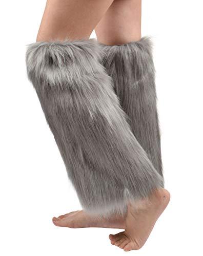 Nanxson Damen Warm Strick Knielang Beistulpe Beinwärmer Beinlinge Strumpf mit Pelz TTW0034 (Grau