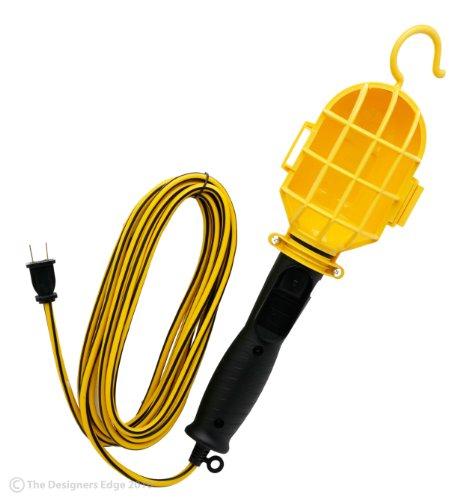 Designers Edge E237 18/2-Gauge Incandescent Garage Work Light with Plastic Bulb Guard, Yellow, 6-Foot