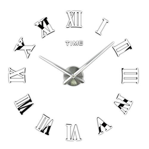 Timelike 3D DIY Frameless Large Wall Clock Modern Roman Numerals 3D Mirror Sticker Home Office Decorations for Living Room Bedroom