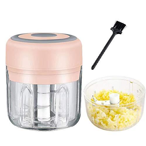 Myvishm - Picadora eléctrica de ajo, 2 unidades (250 ml y 100 ml) potente e inalámbrico, procesador de alimentos pequeño eléctrico...