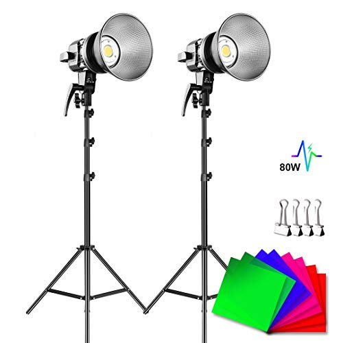 GVM 80W Continuous Lighting Kit, 2 Packs Bowens Mount LED Video Light CRI 97+, TLCI 90+ with Tripod Stand for YouTube, Video Recording, Wedding, Outdoor Shooting
