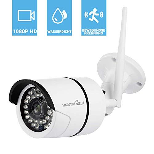 Wansview WLAN IP Kamera, Sicherheitskamera 1080P HD für Außen, IP Cam mit LAN und WLAN Verbindung, IP66 wasserdichte, Infrarot Nachtsicht, Deutsche App und Anleitung Weiß