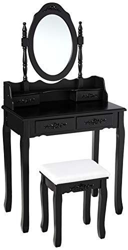 Mecor Girls Dressing Table with Oval Mirror/Stool, Vanity Makeup Table Set 4 Drawers Black