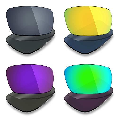 Mryok Lot de 4 paires de verres polarisés de rechange pour lunettes de soleil Oakley Crankshaft – Noir IR/or 24 carats/violet plasma/vert émeraude