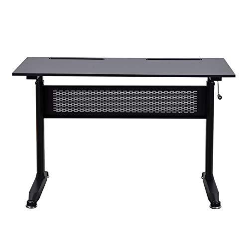 A-myt Cómodo y hermoso digno para interiores y oficinas (negro), altura ajustable de 28.7 a 44.5 pulgadas, escritorio de pie de altura ajustable con zigzag, escritorio infantil y atmosférico S