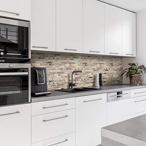 Dedeco Küchenrückwand Motiv: Stein V3, 3mm Aluminium Platte als Fliesenverkleidung Spritzschutz Küchenwand Verbundplatte wasserfest, inkl. UV-Lack glänzend, alle Untergründe, 220 x 60 cm