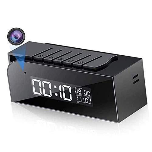 Tuya Smart Cámara Reloj digital, seguridad para el hogar Cámara IP 1080P IR Videocámaras de visión nocturna WIFI inalámbrico Videovigilancia oculta,Clock