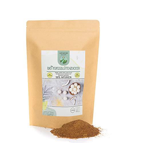 Azúcar de flor de coco orgánico (1kg), de cultivo orgánico certificado, sin gluten, sin lactosa, probado en laboratorio, vegano