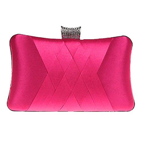 Heyjewels Bolso de Mano Fiesta para Mujer/Clutch de Satén con Diseño Elegante Novia - Varios Colores Hombro Hanbag