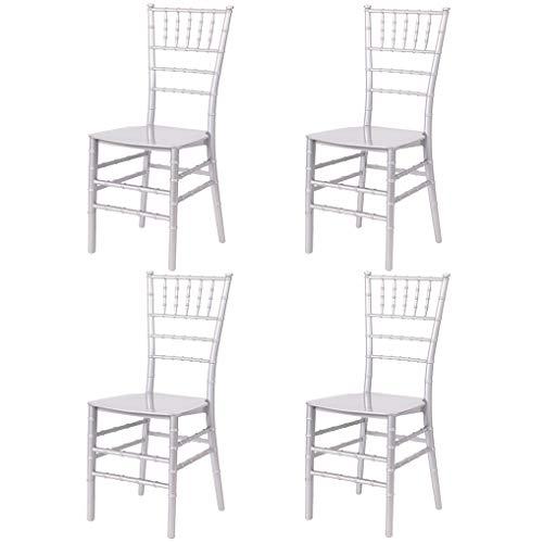 EME 4 Sillas Modelo Chiavari o Tiffany en Color Blanco. Incluye 4 sillas y 4 Cojines. Elegantes para