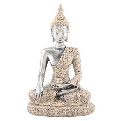 FAMKIT Meditating Seated Buddha Statue Carving Figurine Craft for Home Decoration Table Ornament