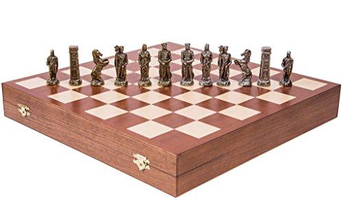 SQUARE GAME Schach Schachspiel - ENGLISCH - Schachfiguren aus Metall - Schachbrett aus Holz