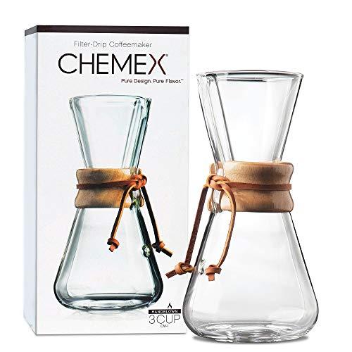 Chemex Hand Blown CM-1 | Kaffeemaschine Manueller Filter 1 bis 3 Tassen | Handgeblasenes Glas | Kapazität 470 ml