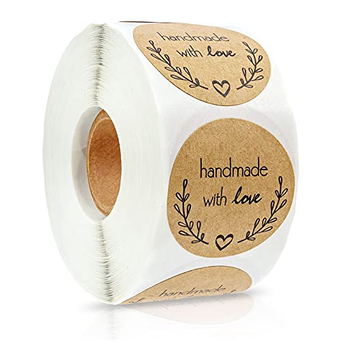 500pz Pegatina Kraft Etiqueta Adhesiva,Adhesivos Redondos para Hornear Kraft,Etiqueta para Regalo Boda,Handmade with love...