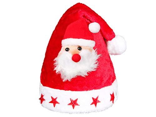 Weihnachtsmütze Nikolausmütze Kinder mit Blinksternen (wm-46) - Weihnachtsmann Mütze für Kids - liebevolles Design