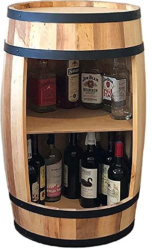 Deko Fass Weinregal aus Holz Tisch 80 cm. Weinfass Stehtisch - Hausbar Bar Regal Alkohol Shrank Flaschenregal Regale Holzfass Theke Fassmöbel Wine Rack Möbel Wohnzimmer Fassbar geschenk