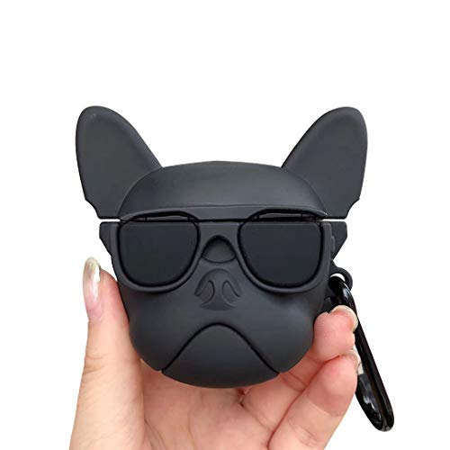 UR Sunshine AirPods Pro Case, Stylish Glass Bulldog Shape Soft Silicone Case Cover Earphone Protection Skin Case for AirPods Pro+Hook-Black