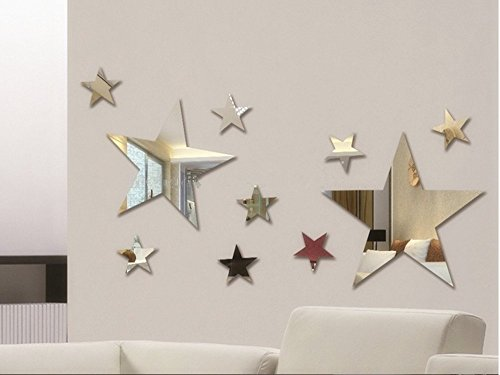 Set of 10pcs Creative Five Stars Wall Mirror Sticker For Kids Child `s Bedroom Home Deco , 3D DIY Crystal Wall Decal Murals
