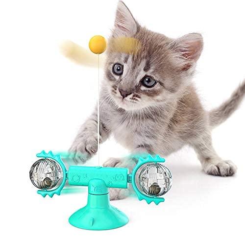 CYGG Juguete Divertido de la Bola de Juguete de Gato Interactivo con la Ventosa Port por Pet Ejercicio Inteligente Gato Juguete con la Bola giratoria de la Catnip