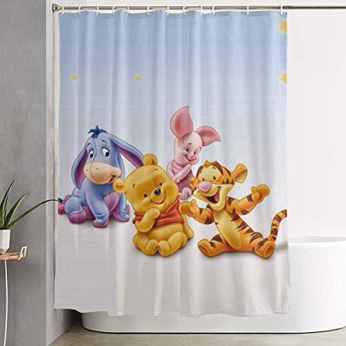 ChenZhuang Duschvorhang Winnie The Pooh Kunstdruck, Badezimmerdekoration aus Polyestergewebe mit Haken - 60 x 72 Zoll