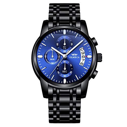 OLMECA Relojes Hombre Moda de Lujo Reloj de Pulsera de Cuarzo Cronógrafo Impermeable con Cuero, Relojes de Acero Inoxidable para Hombres. (B-Azul Negro)
