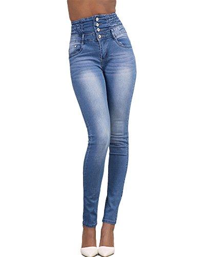 Mujer Pantalones Vaquero Skinny Push Up Pantalones Elástico Jeans Cintura Alta Azul Claro XL