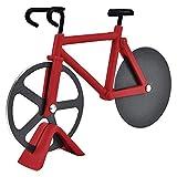 Geiomo Cortador de Pizza Bicicleta, Doble Ruedas de Corte Pizza de Acero Inoxidable con Soporte para Cocina (Rojo)