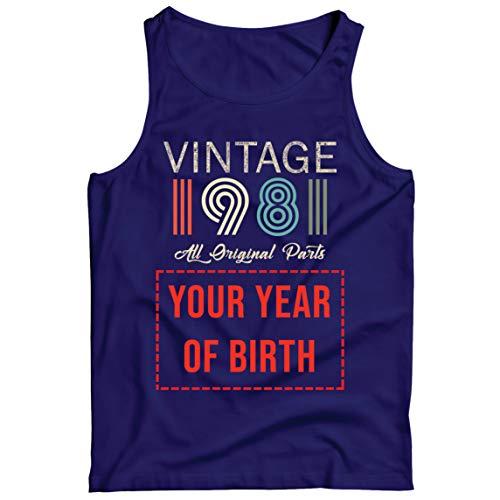 lepni.me Camisetas de Tirantes para Hombre Personalizado con Cualquier Año Regalo Vintage Todas Las Piezas Originales (Medium Azul Multicolor)