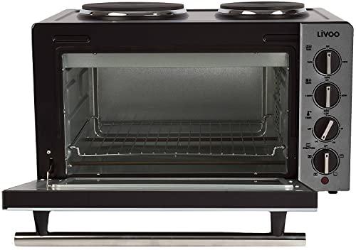 Minibackofen mit Herdplatte 30 Liter Mini Backofen Heißluft 3300 Watt (Miniofen mit Kochplatte, 5 Funktion, Pizzaofen, bis 230°C, Konvektionseinstellung)
